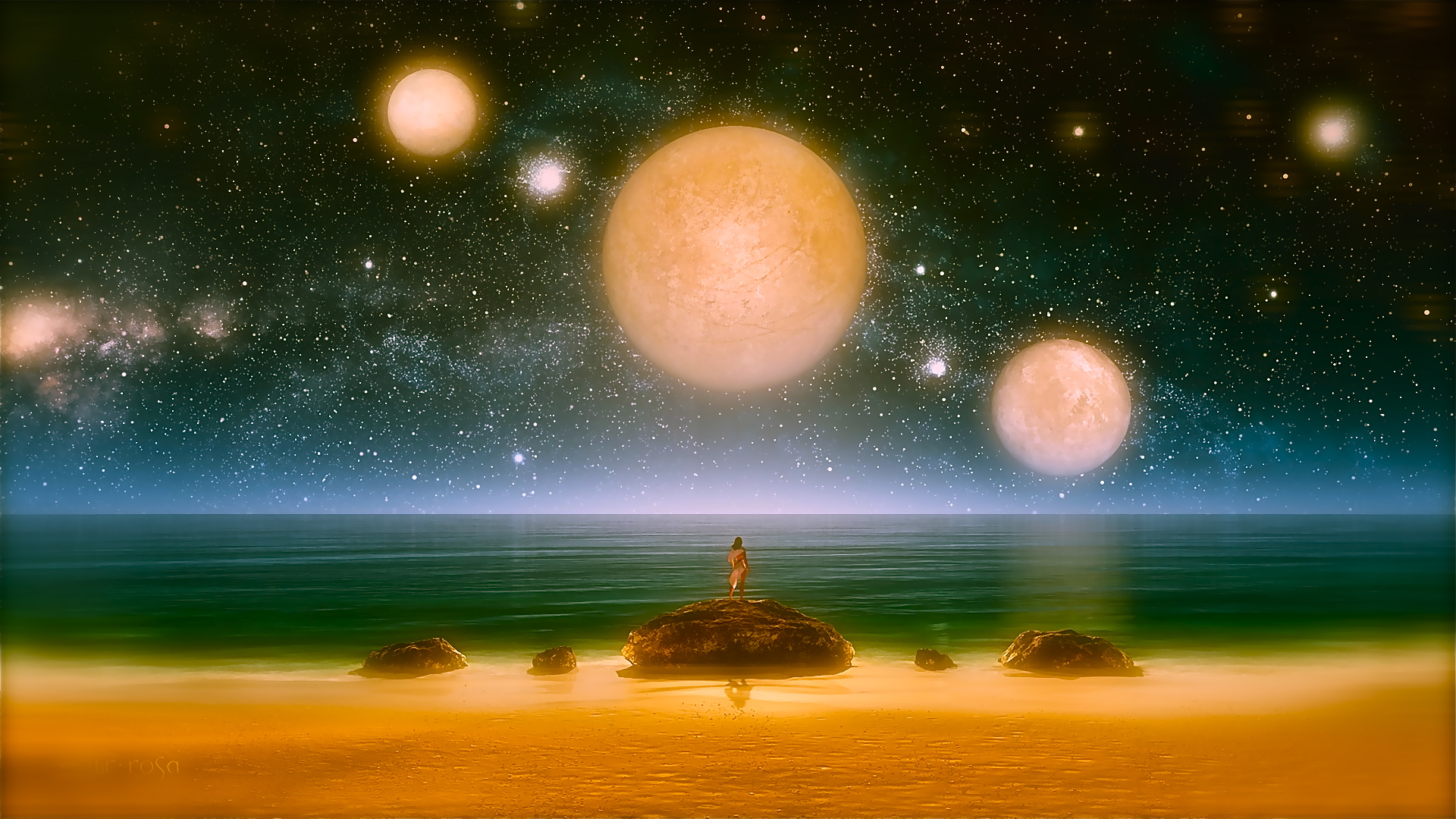 art-fantasy-girl-sea-rocks-night-night-sky-stars-planets-three1